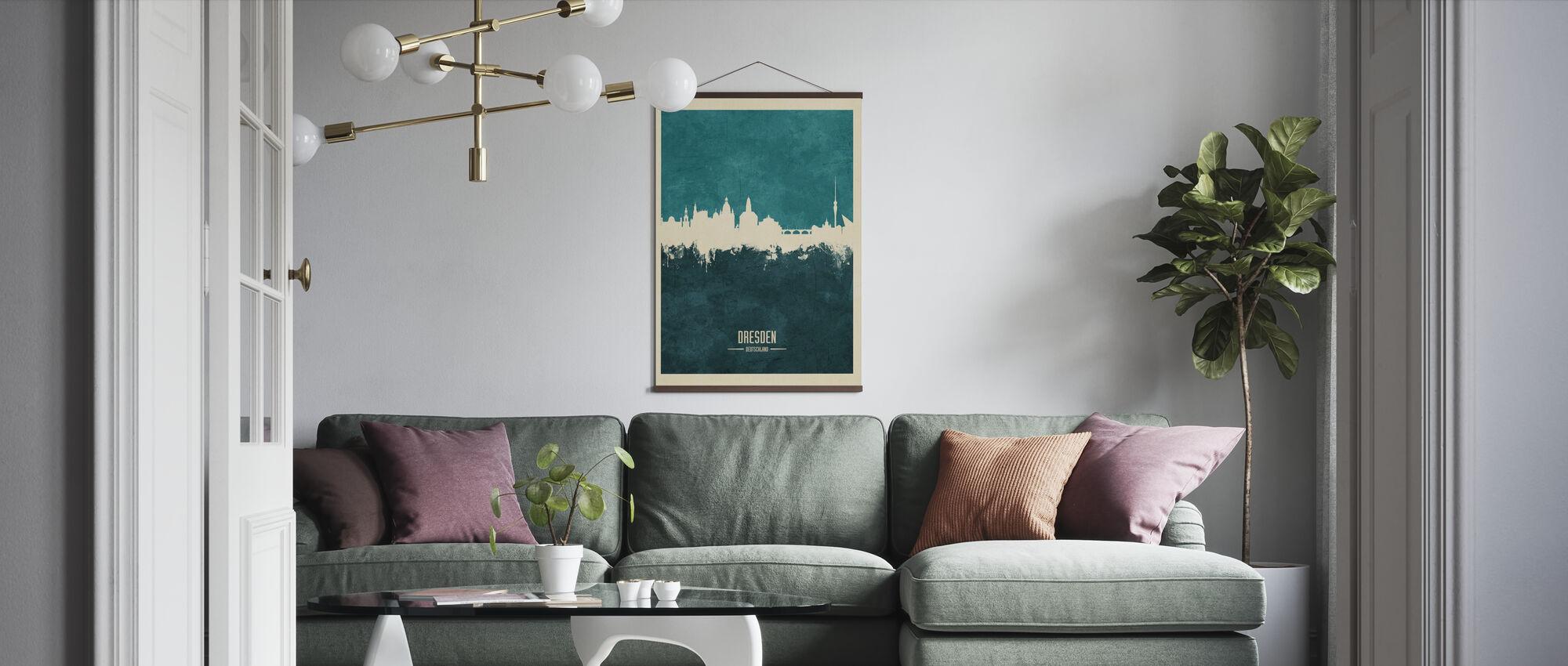 Dresden Deutschland Skyline Blau - Poster - Wohnzimmer