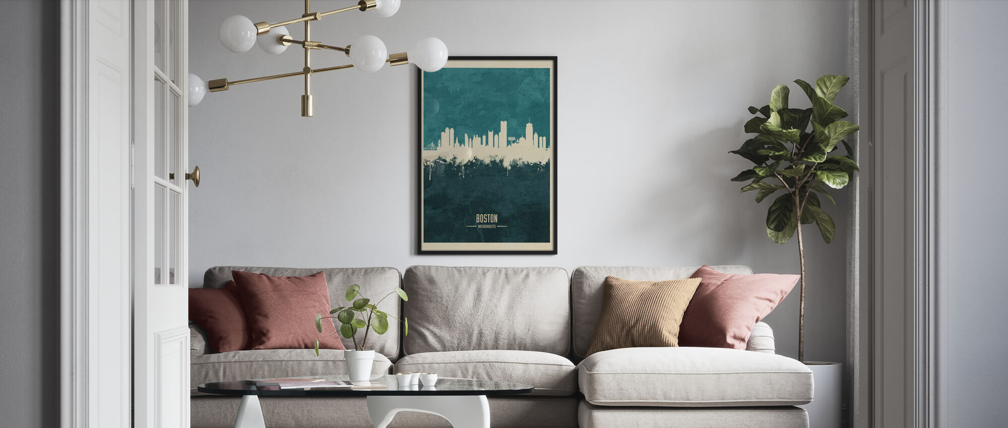 Boston Massachusetts Skyline Blue - Framed print - Living Room