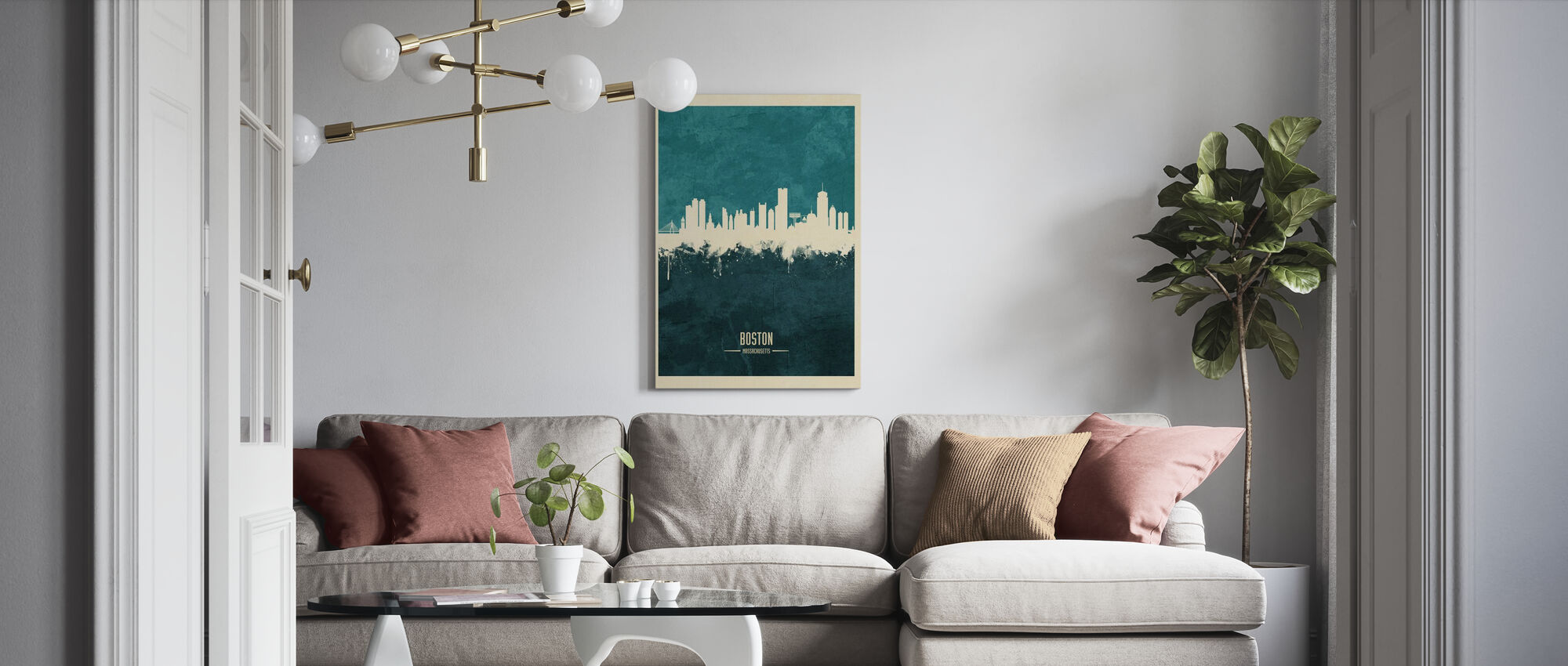 Boston Massachusetts Skyline Blue - Canvas print - Living Room