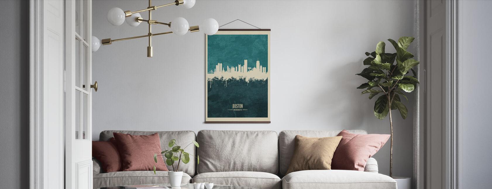 Boston Massachusetts Skyline Blå - Plakat - Stue