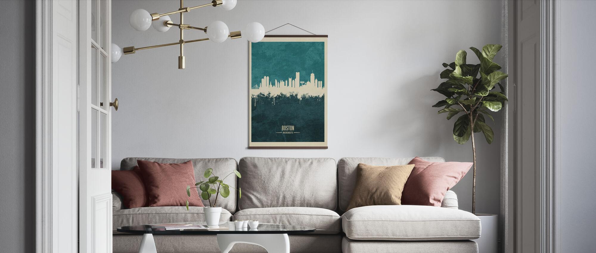 Boston Massachusetts Skyline Blue - Poster - Living Room