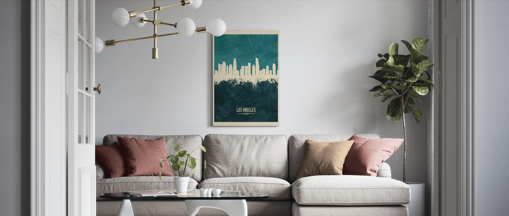 Los Angeles California Skyline Blue - Canvas print - Living Room