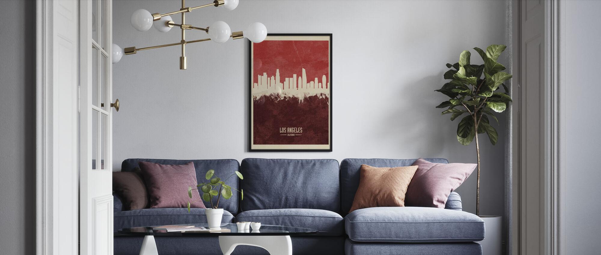 Los Angeles California Skyline Red - Framed print - Living Room