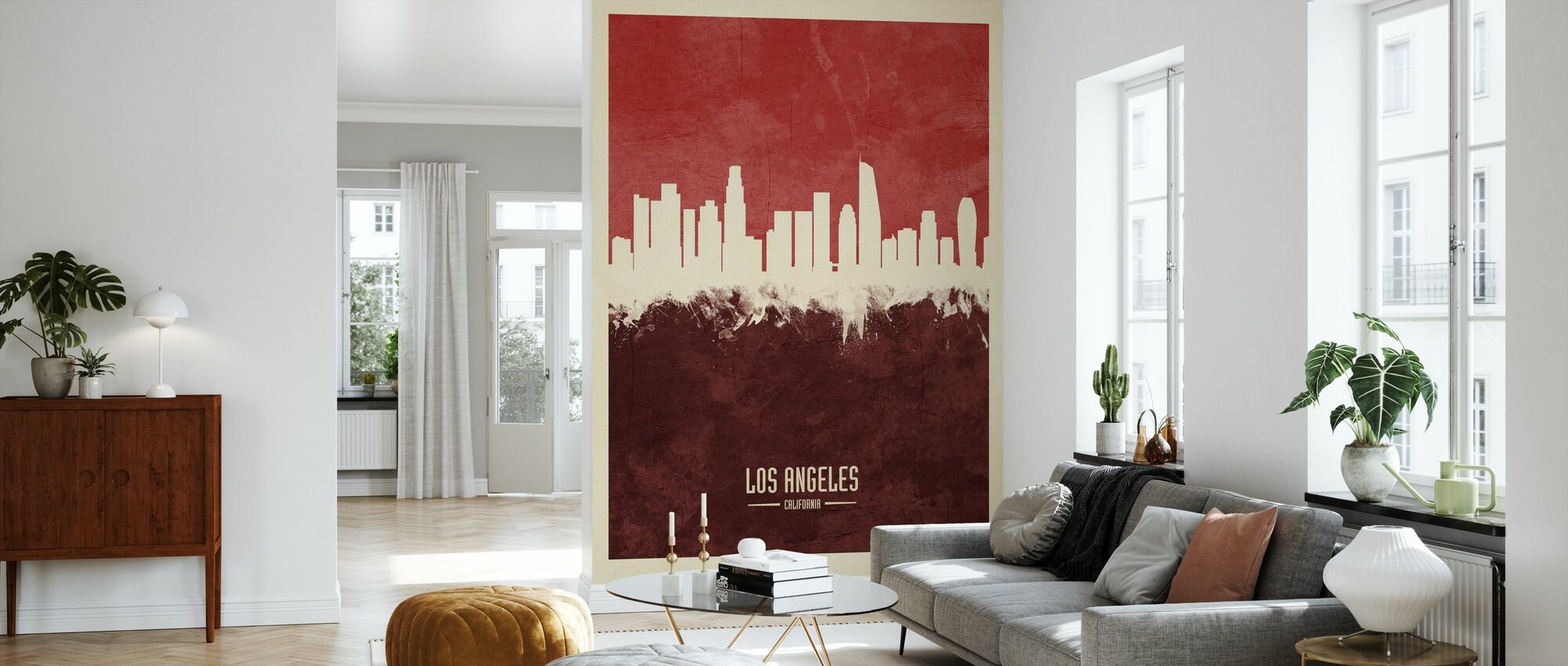 Los Angeles California Skyline Red - Wallpaper - Living Room