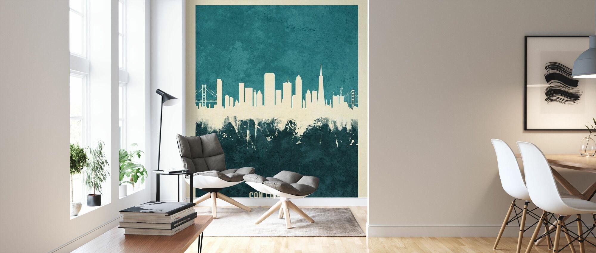 San Francisco California Skyline Blue - Wallpaper - Living Room