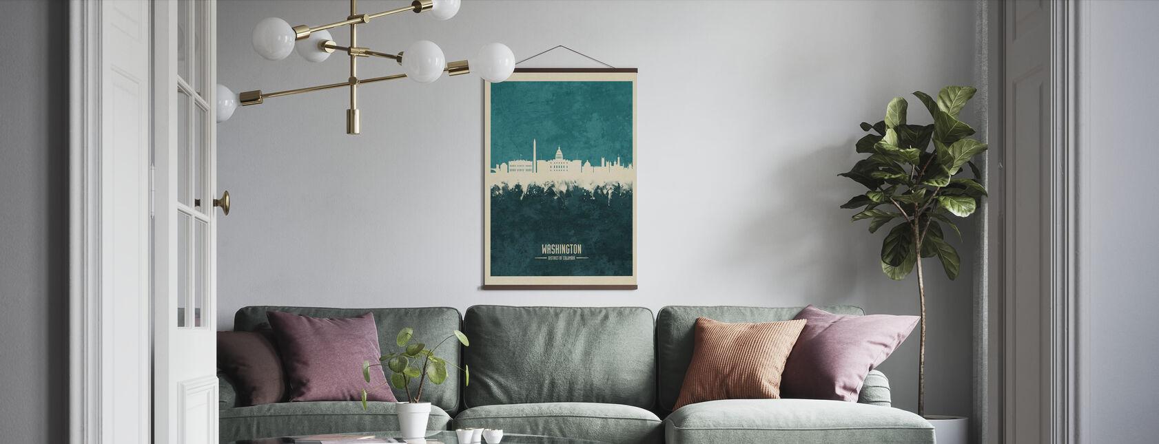 Washington DC Skyline Blå - Plakat - Stue
