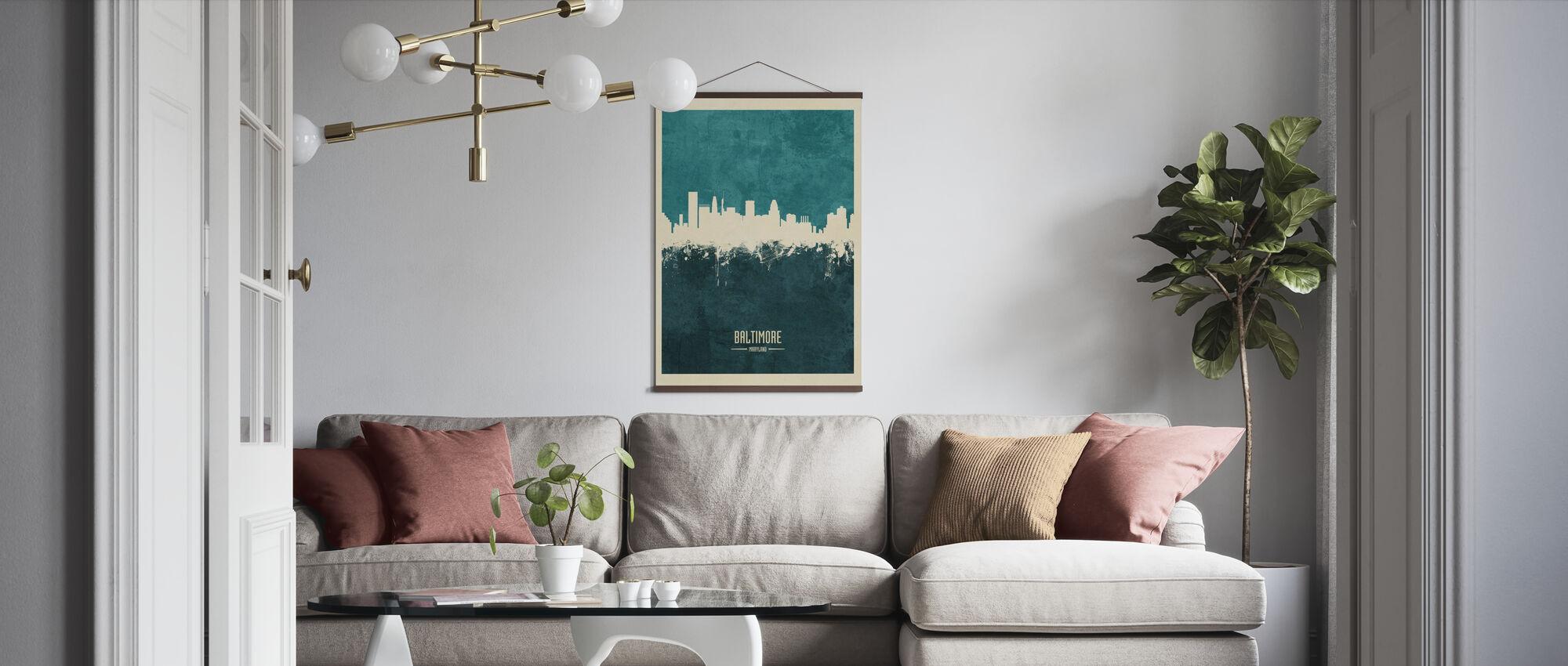 Baltimore Maryland Skyline Blue - Poster - Living Room