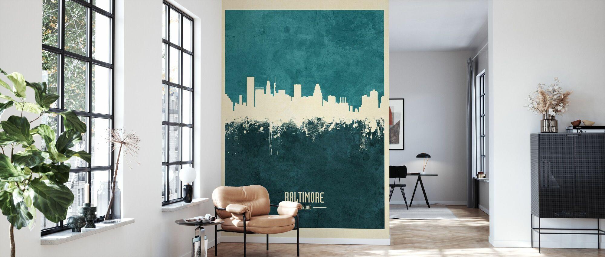 Baltimore Maryland Skyline Blue - Wallpaper - Living Room