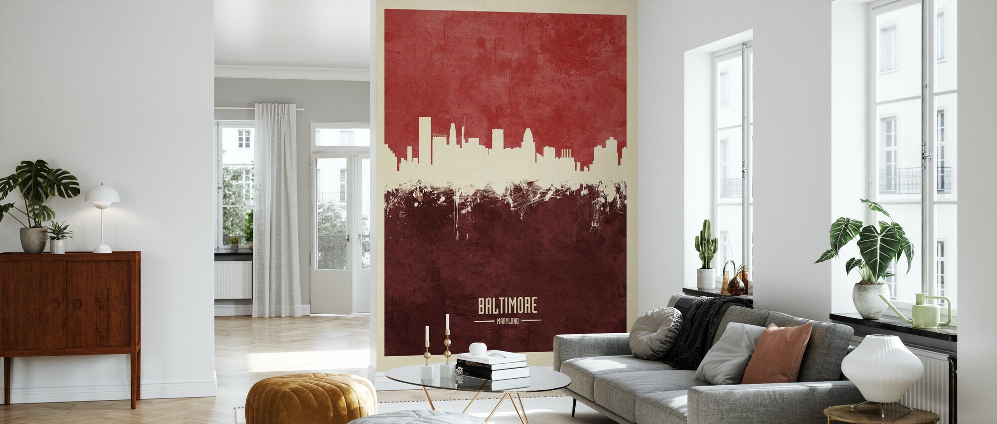 Baltimore Maryland Skyline Red - Wallpaper - Living Room