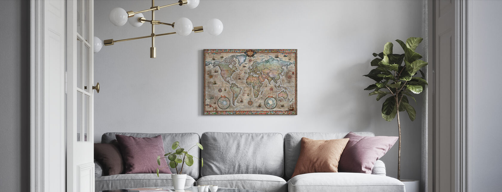 Retro World Map Nordic - Canvas print - Living Room
