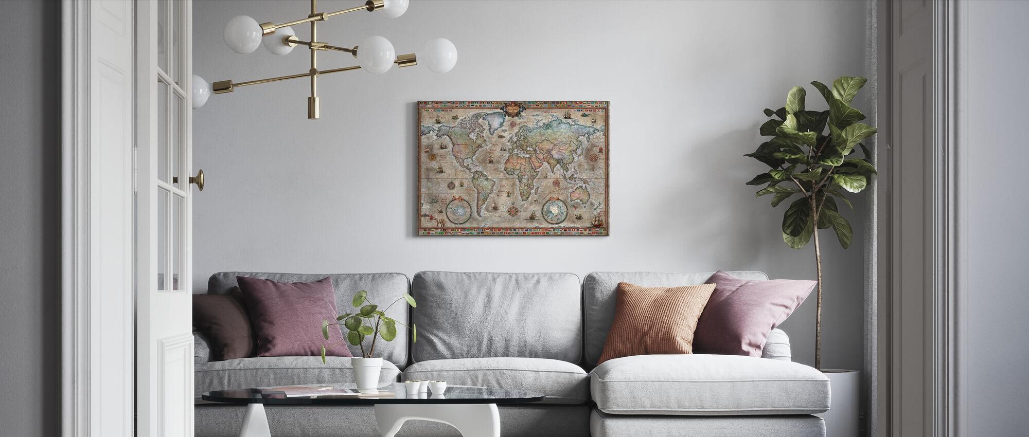Retro World Map Nordic - Canvastaulu - Olohuone
