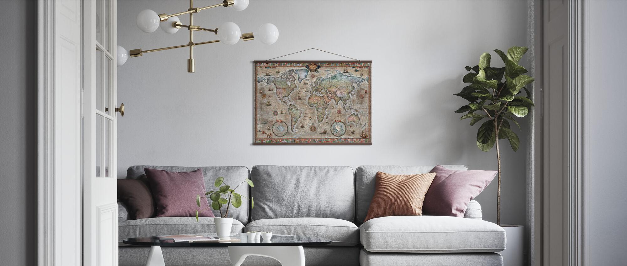 Retro World Map Nordic - Poster - Wohnzimmer