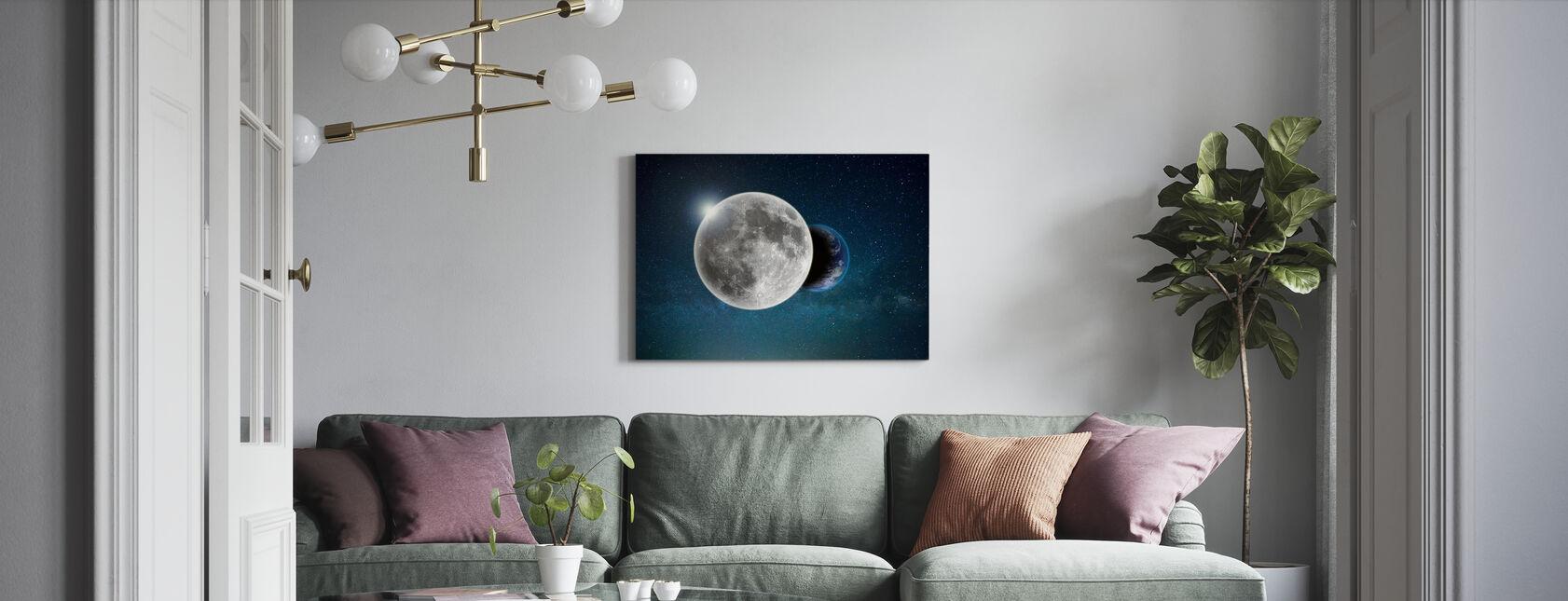 Jord og Måne - Billede på lærred - Stue