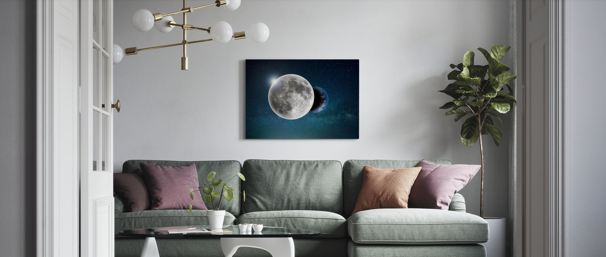 Earth and Moon - Canvas print - Living Room