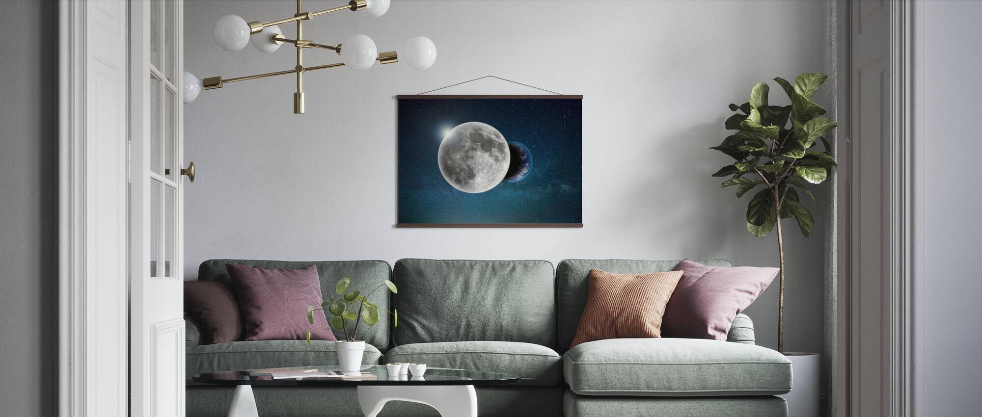Earth and Moon - Poster - Living Room