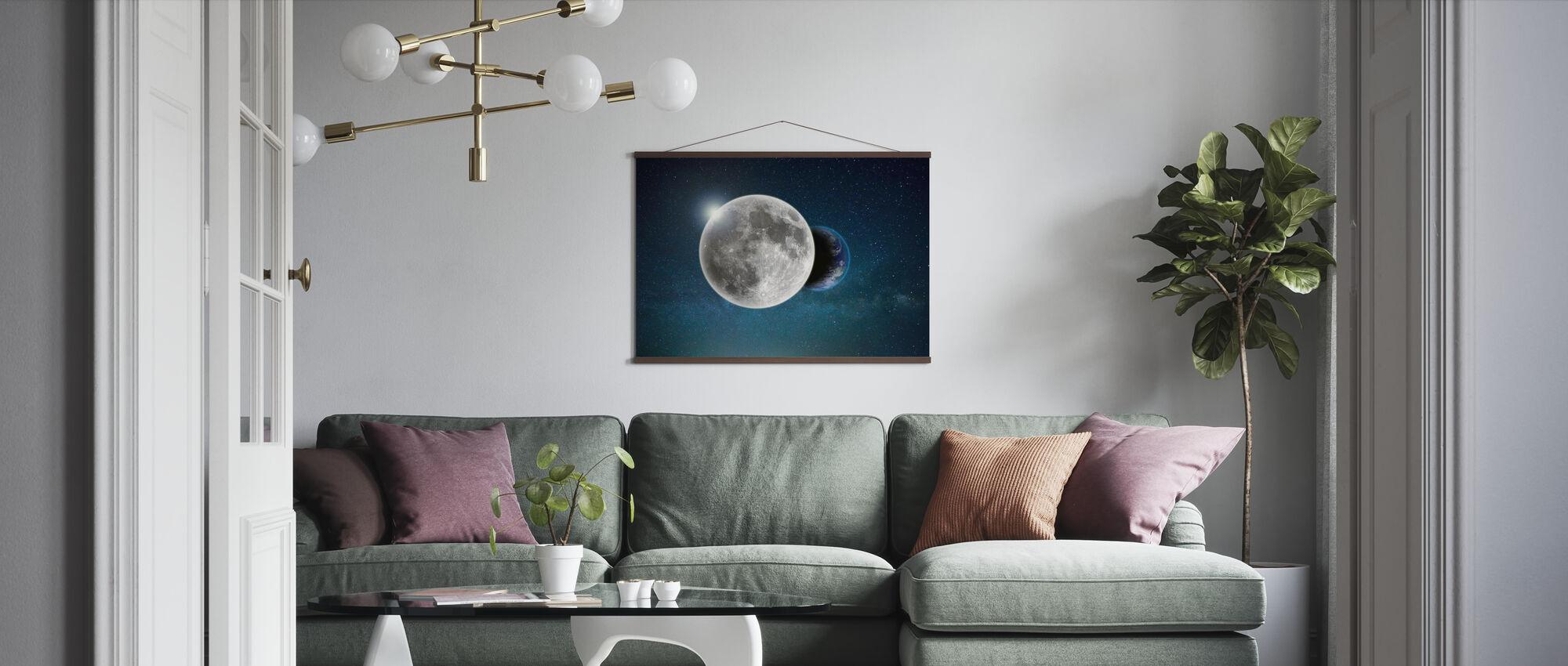 Erde und Mond - Poster - Wohnzimmer