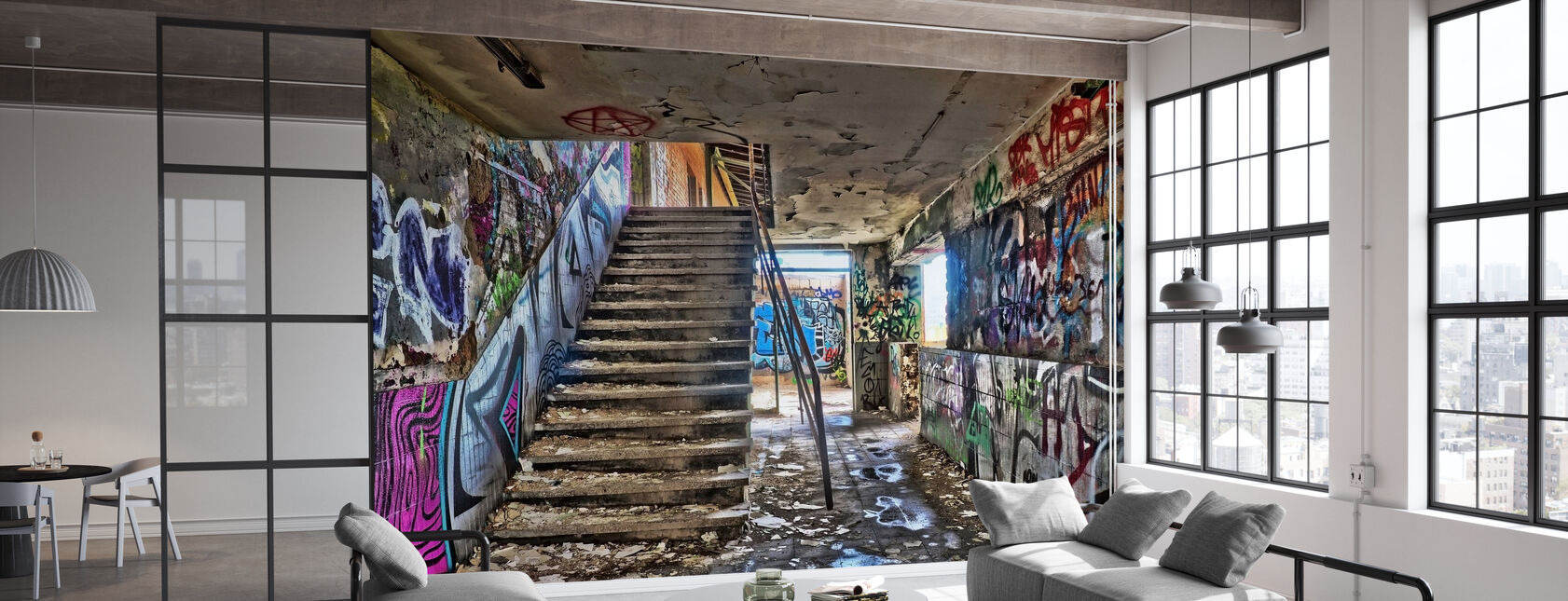 Abandoned Building Staircase - Wallpaper - Office