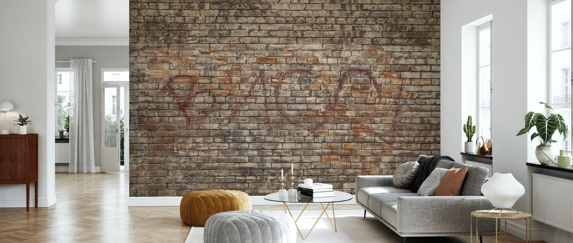 Ziegelmauer Graffiti - Tapete - Wohnzimmer