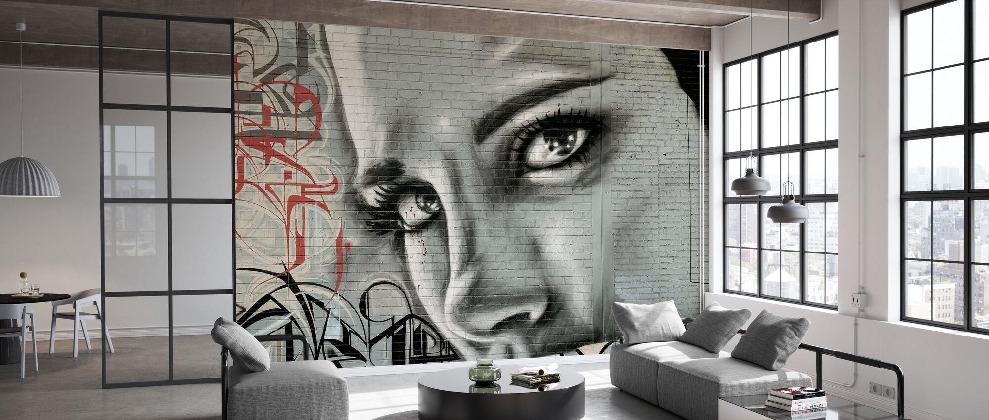 Kvinnens ansikt Graffiti Vegg - Tapet - Kontor