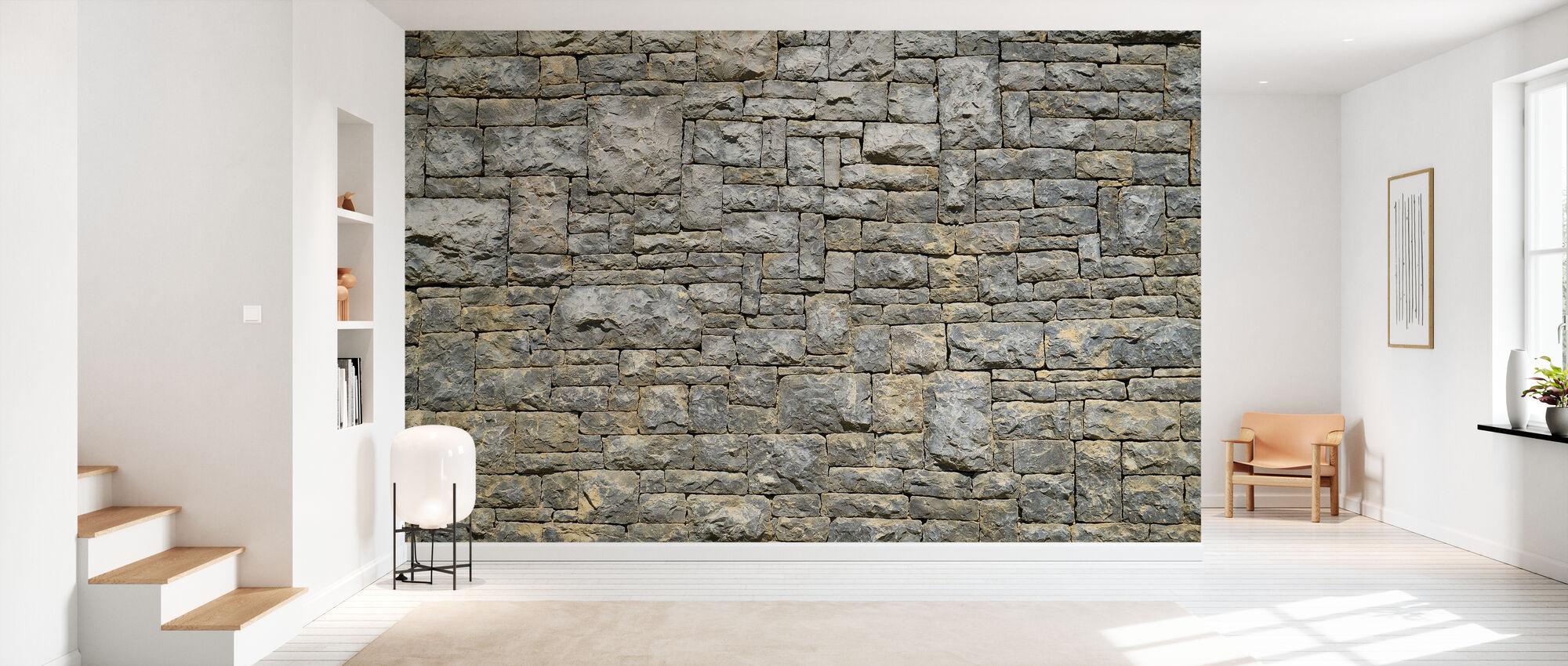 Granieten bakstenen muur - Behang - Gang
