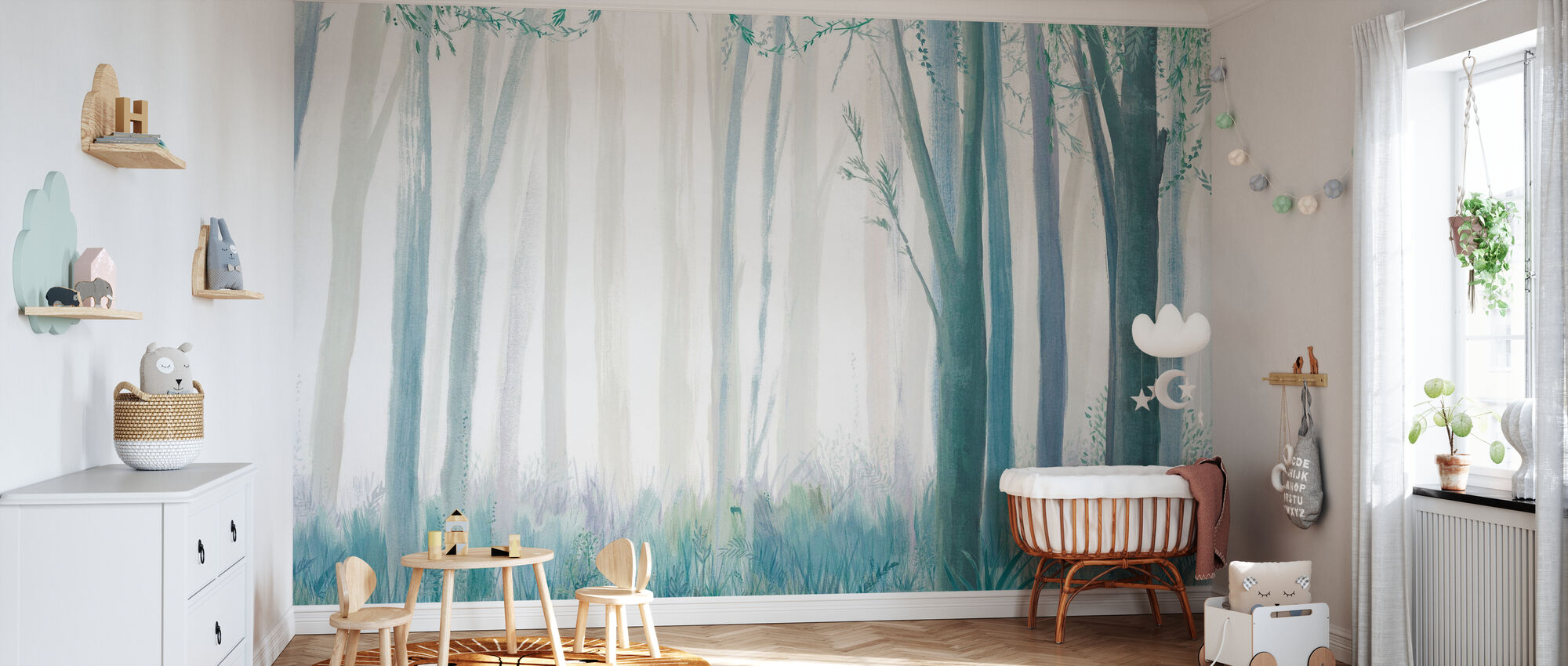 Trees – Blue - Wallpaper - Nursery