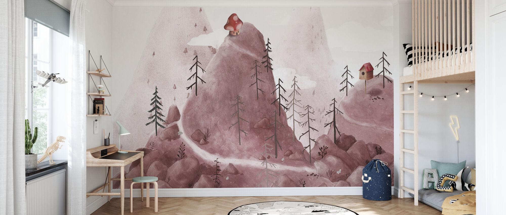 Birdhouse Fantasy Mountains - Wallpaper - Kids Room
