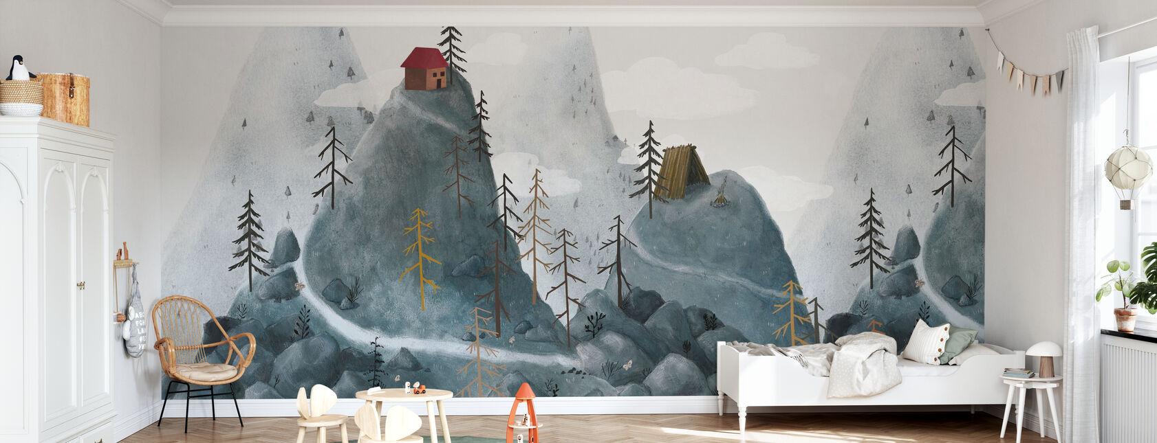 Village Fantasy Mountains - Wallpaper - Kids Room