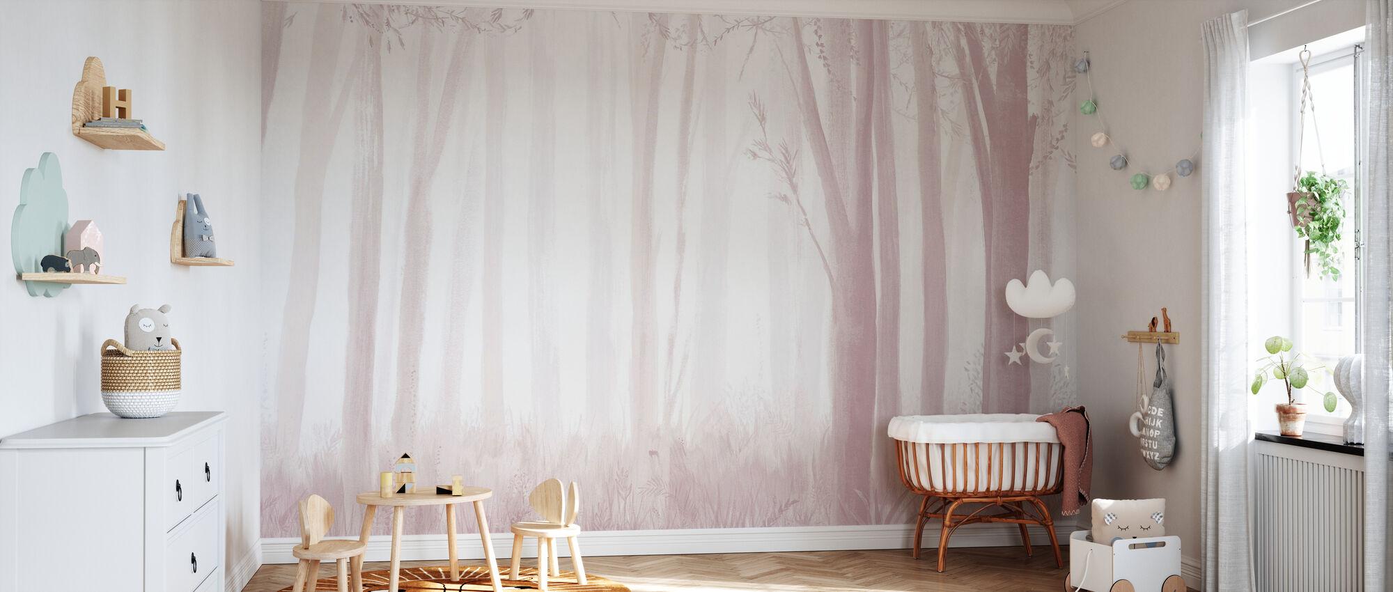 Árboles - Rosa - Papel pintado - Cuarto del bebé