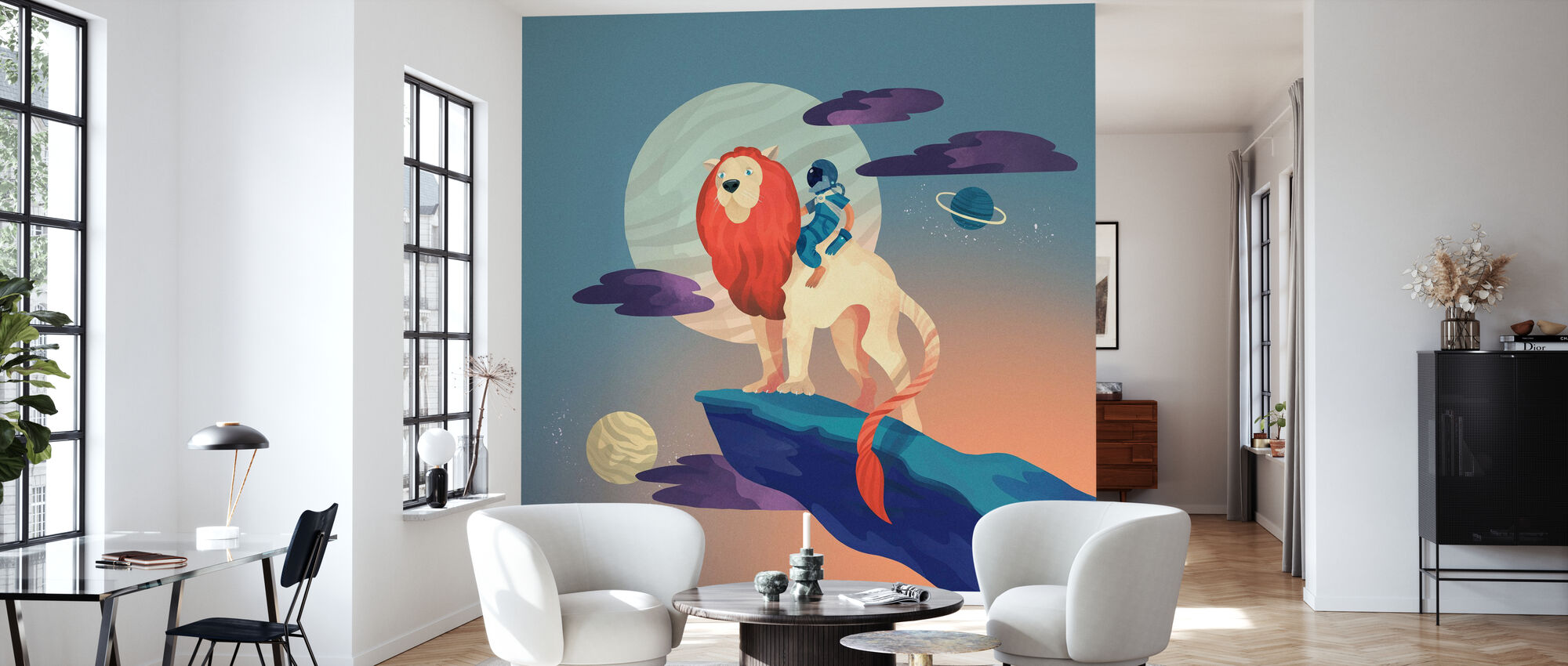Weltraum Löwe - Tapete - Wohnzimmer