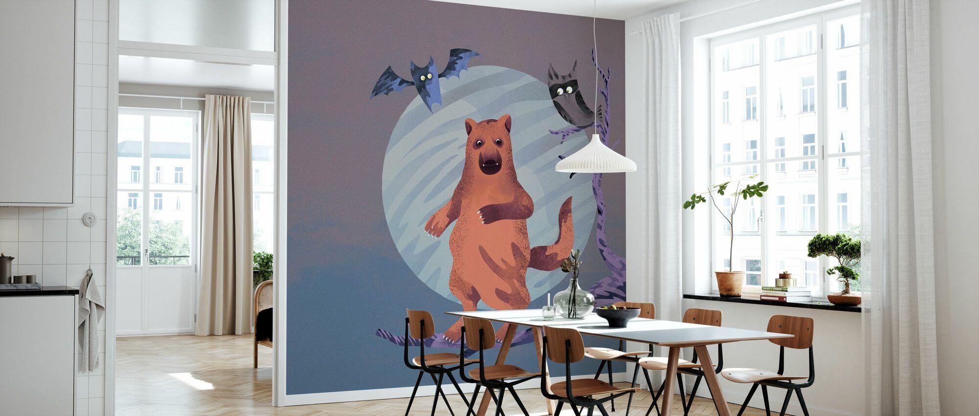 Midnight Bear flieder - Tapete - Küchen