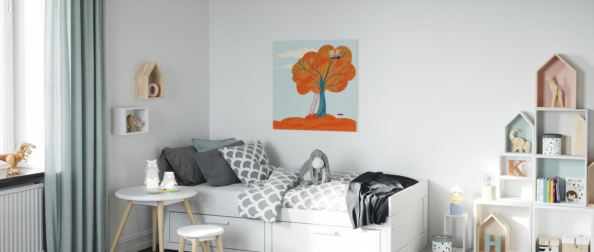 Höst träd hus - Canvastavla - Barnrum