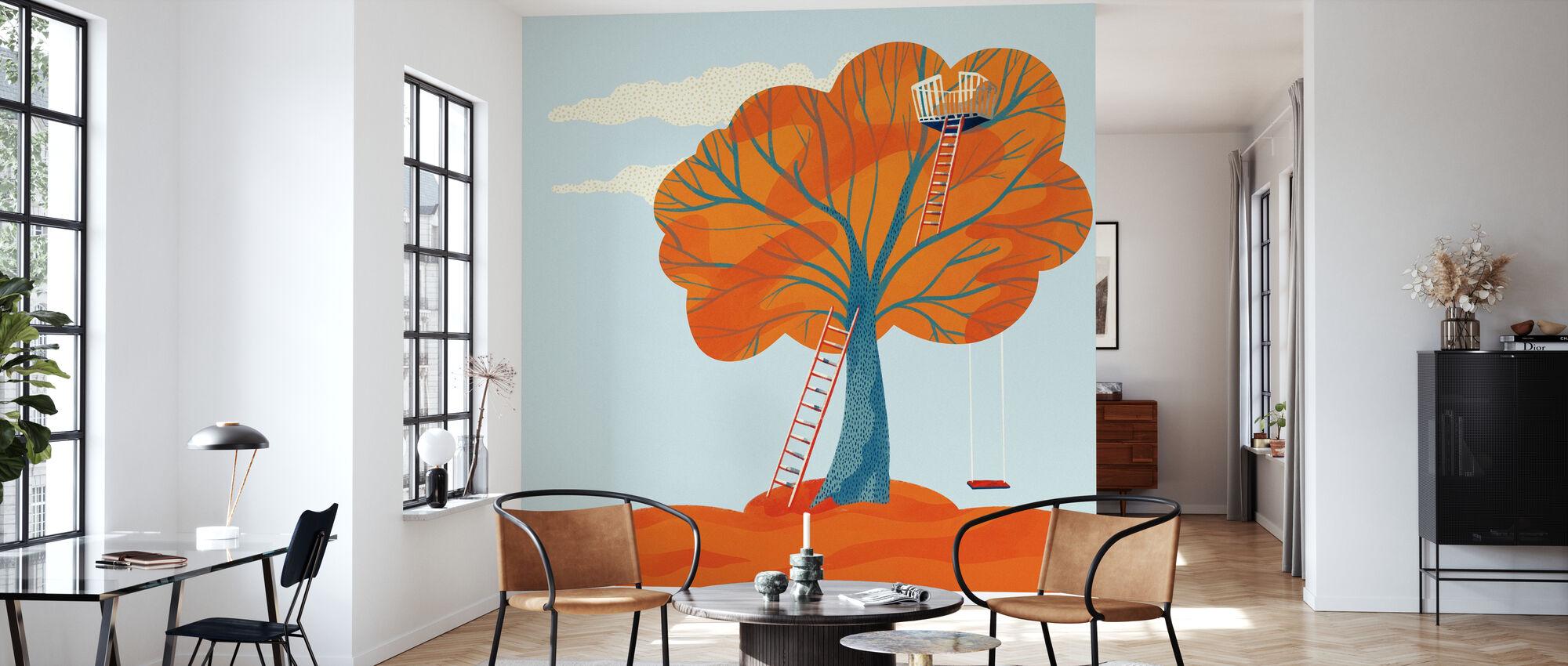 Herbstbaumhaus - Tapete - Wohnzimmer