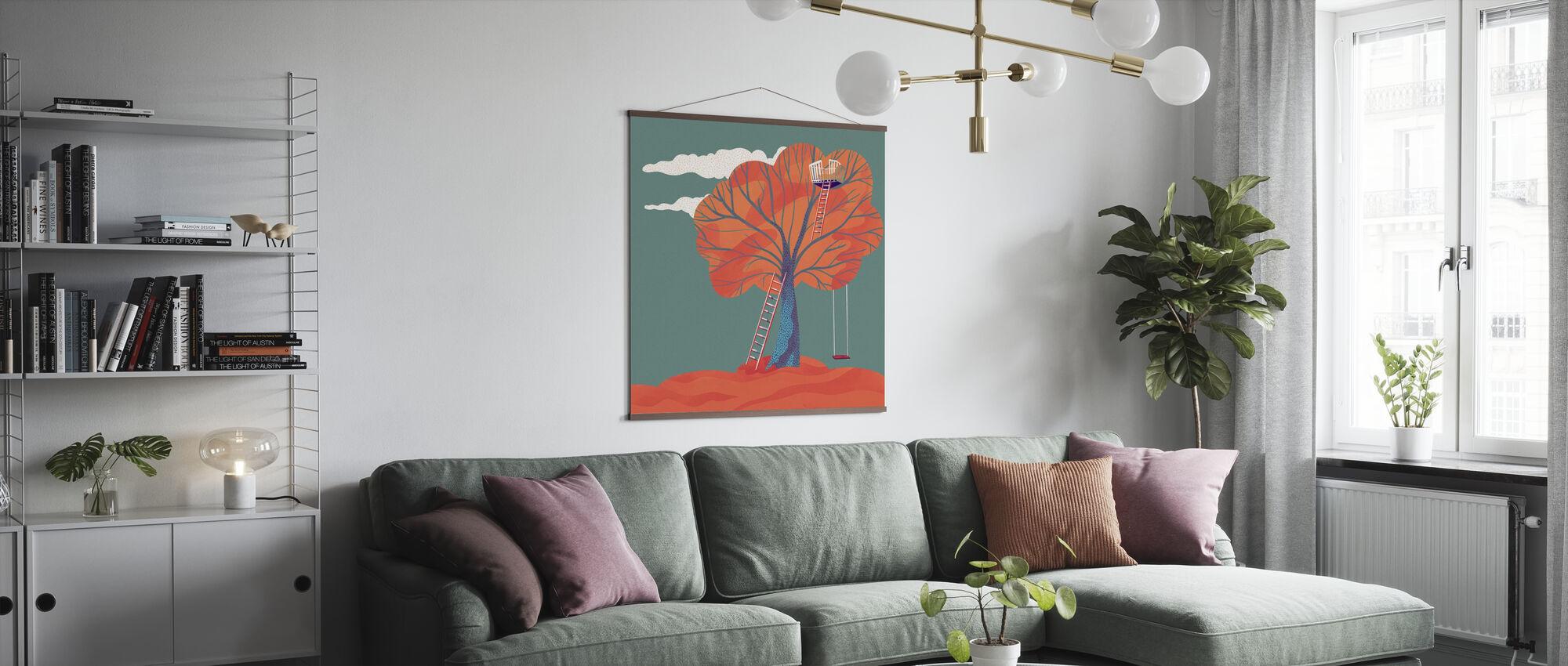 Herbst Baumhaus dunkel - Poster - Wohnzimmer
