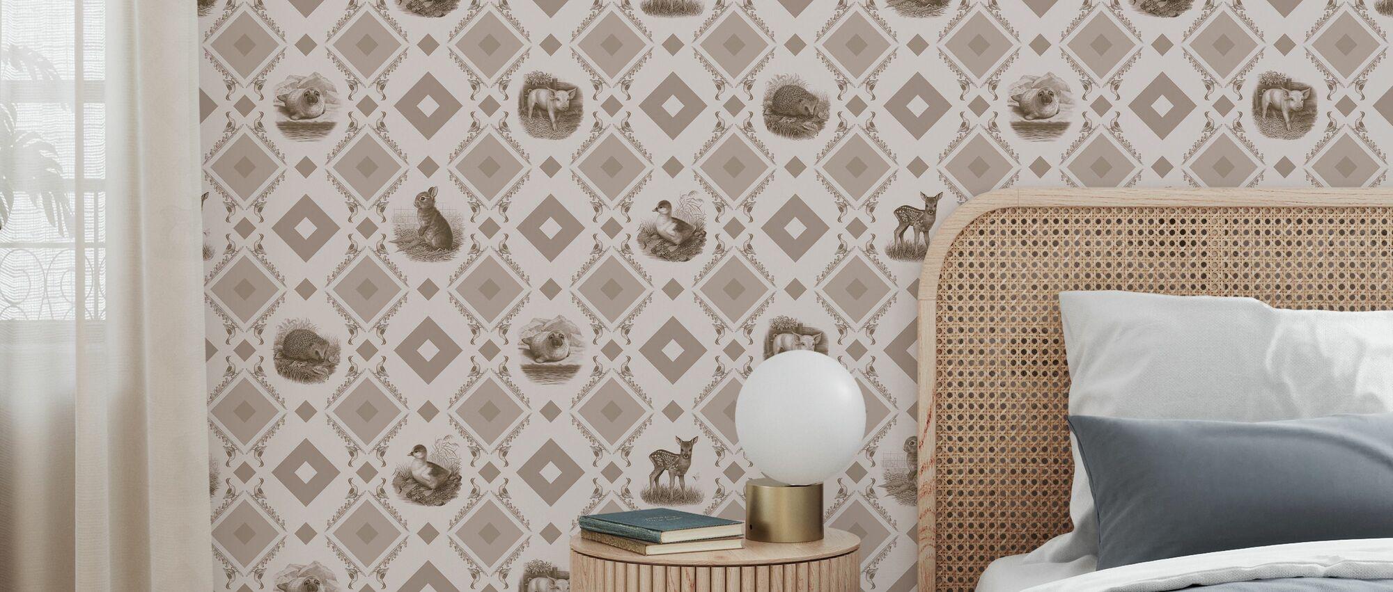 Cute Puppies Beige - Wallpaper - Bedroom