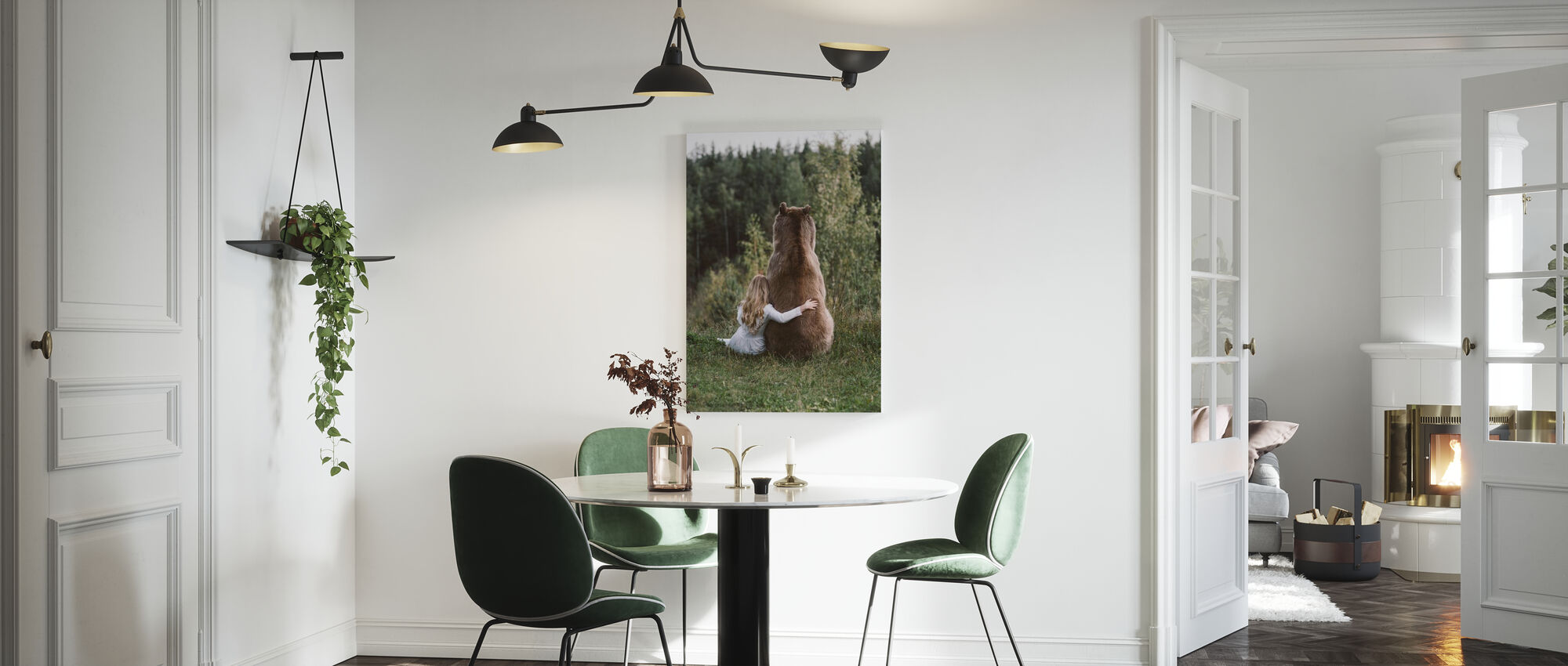 Bjørn knus - Billede på lærred - Køkken