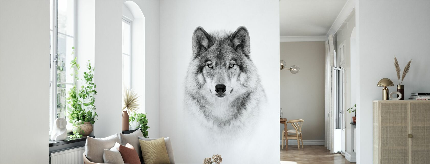 Portrait of a Timber Wolf - Wallpaper - Living Room