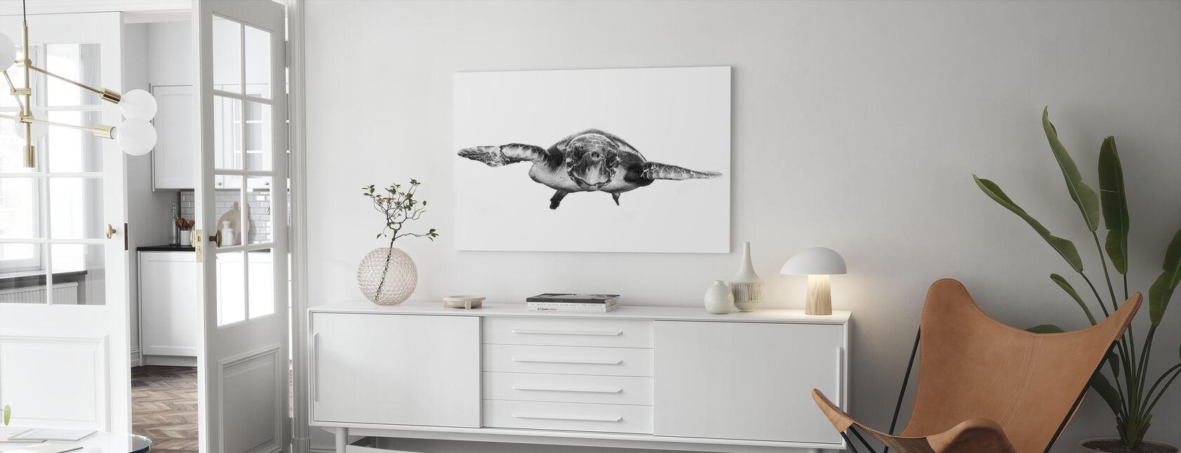 Valkoinen ja Kilpikonna - Canvastaulu - Olohuone