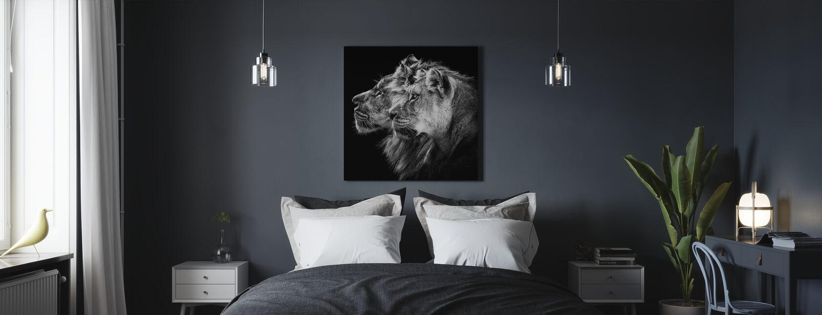 Løve Og Løvinne Portrett - Lerretsbilde - Soverom
