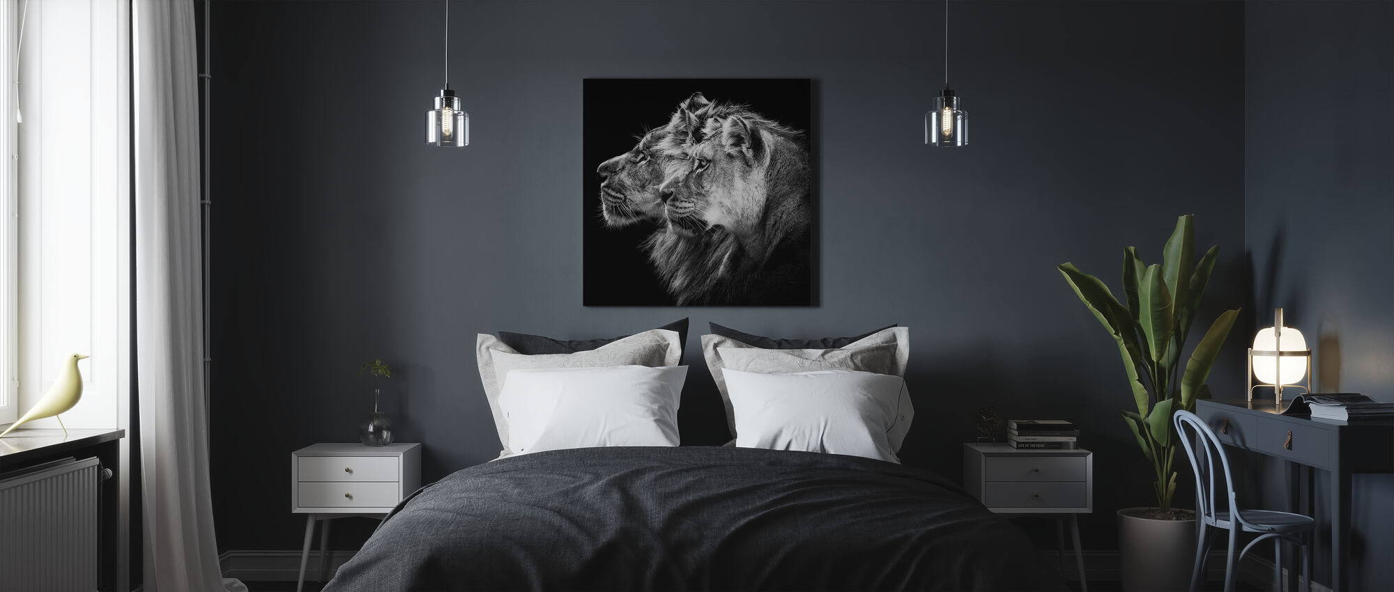 Lion and Lioness Portrait - Canvas print - Bedroom