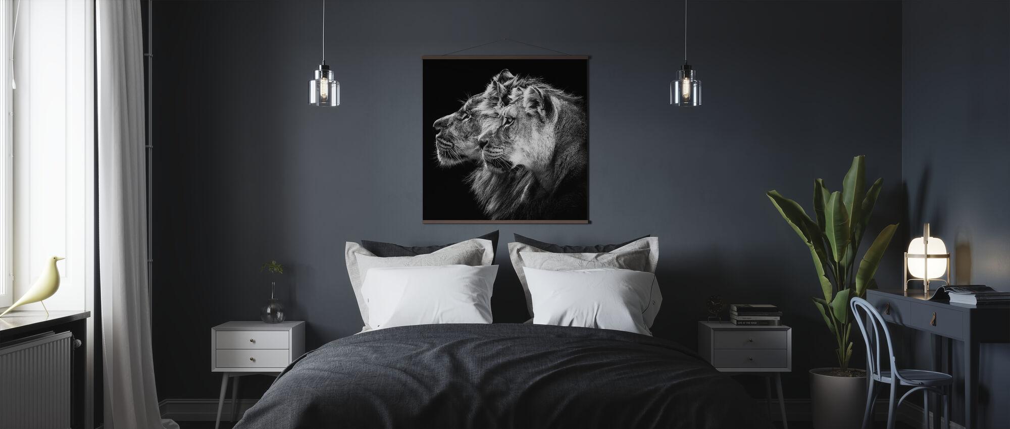 Löwe und Löwin Porträt - Poster - Schlafzimmer