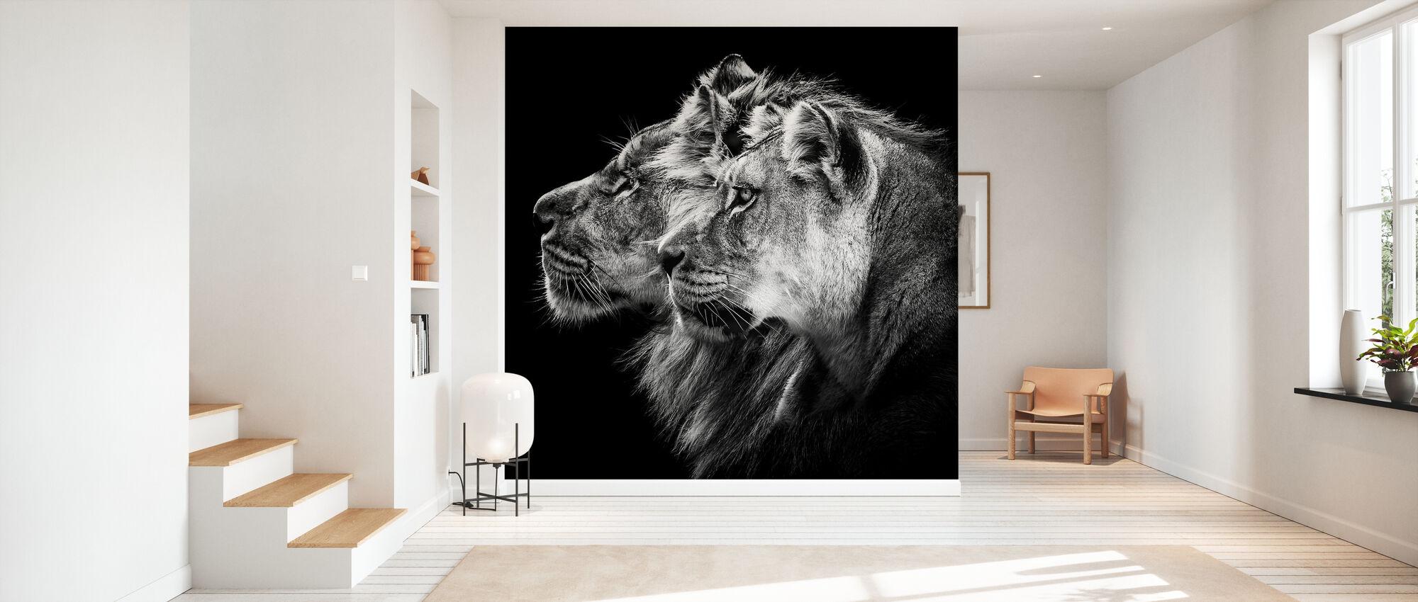 Lion and Lioness Portrait - Wallpaper - Hallway