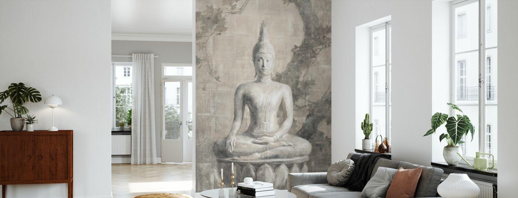 Buddha Neutral gröda - Tapet - Vardagsrum