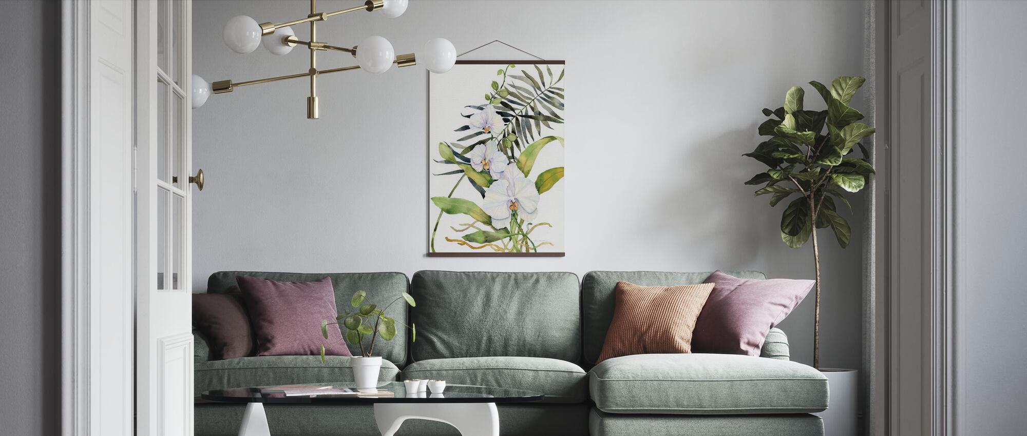 Botanical Phalaenopsis Crop - Poster - Living Room