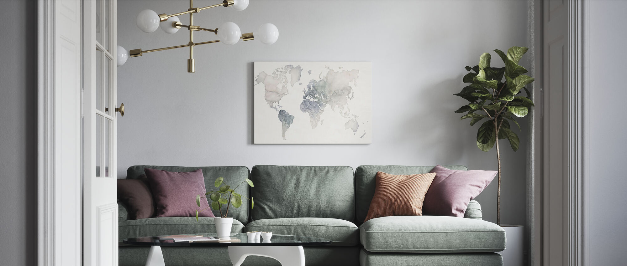 Watercolor Wanderlust - Canvas print - Living Room