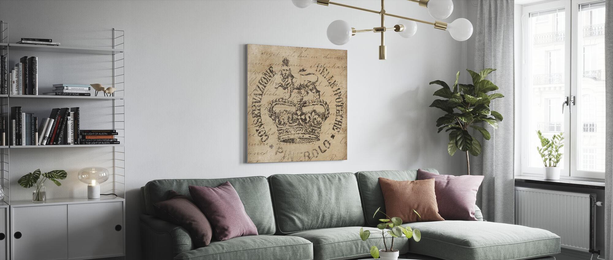 Vintage Seal IV Antique Border v2 - Canvas print - Living Room