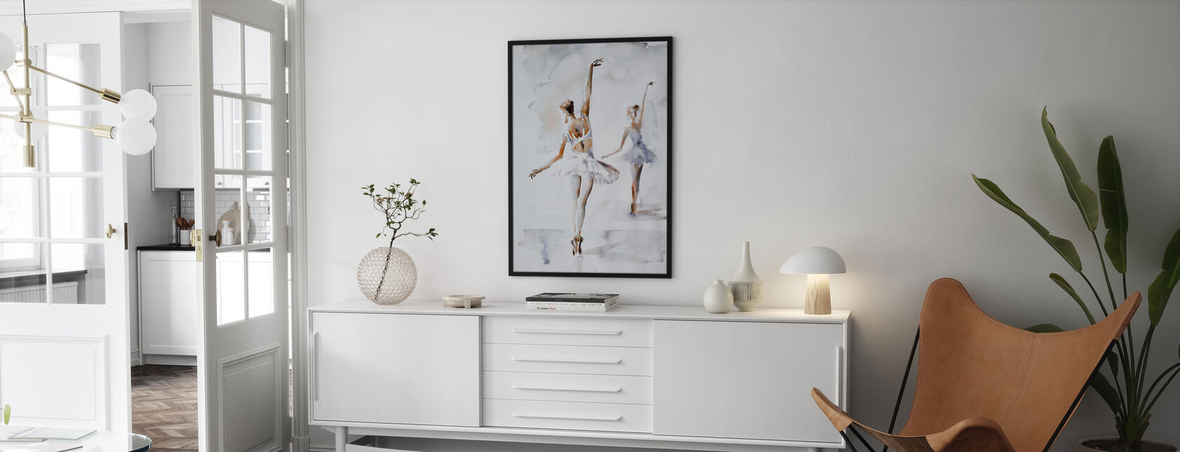 Ballerina In Blue - Framed print - Living Room
