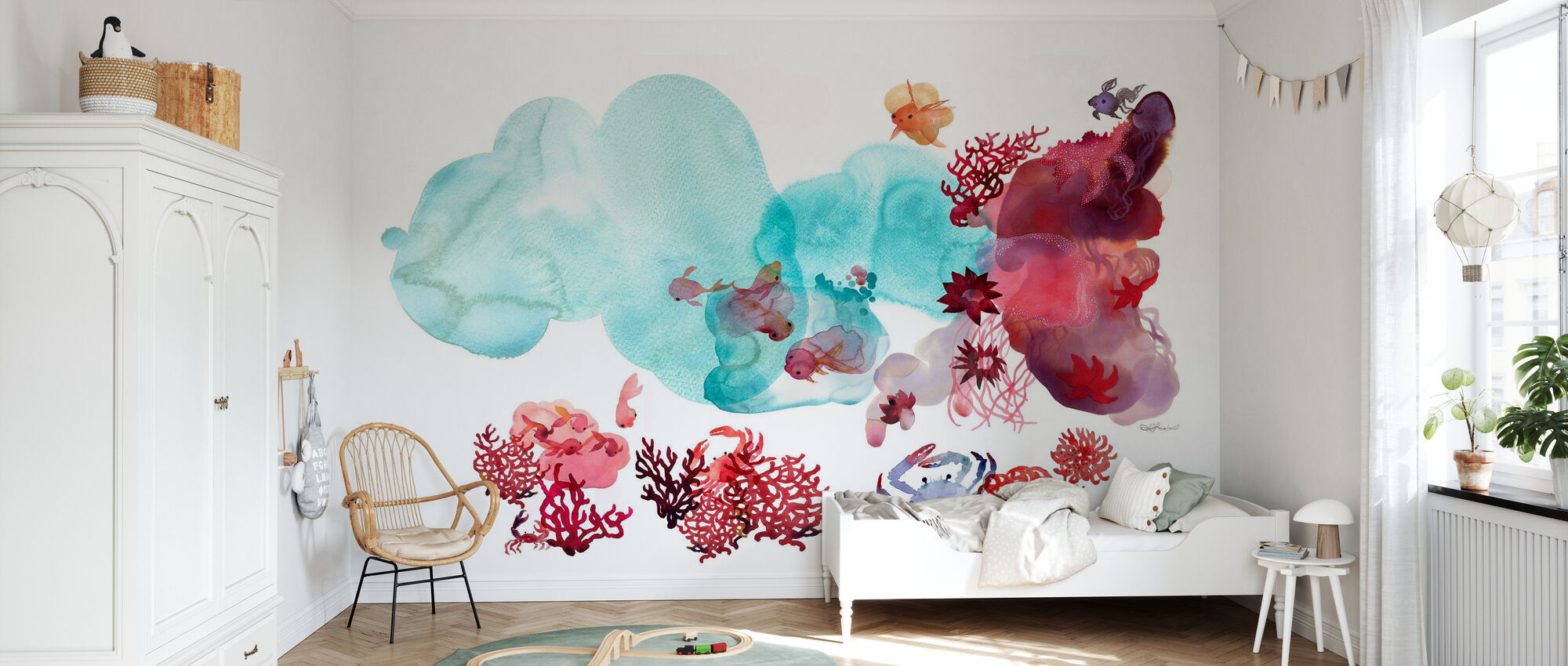 Water Color Coral III - Wallpaper - Kids Room
