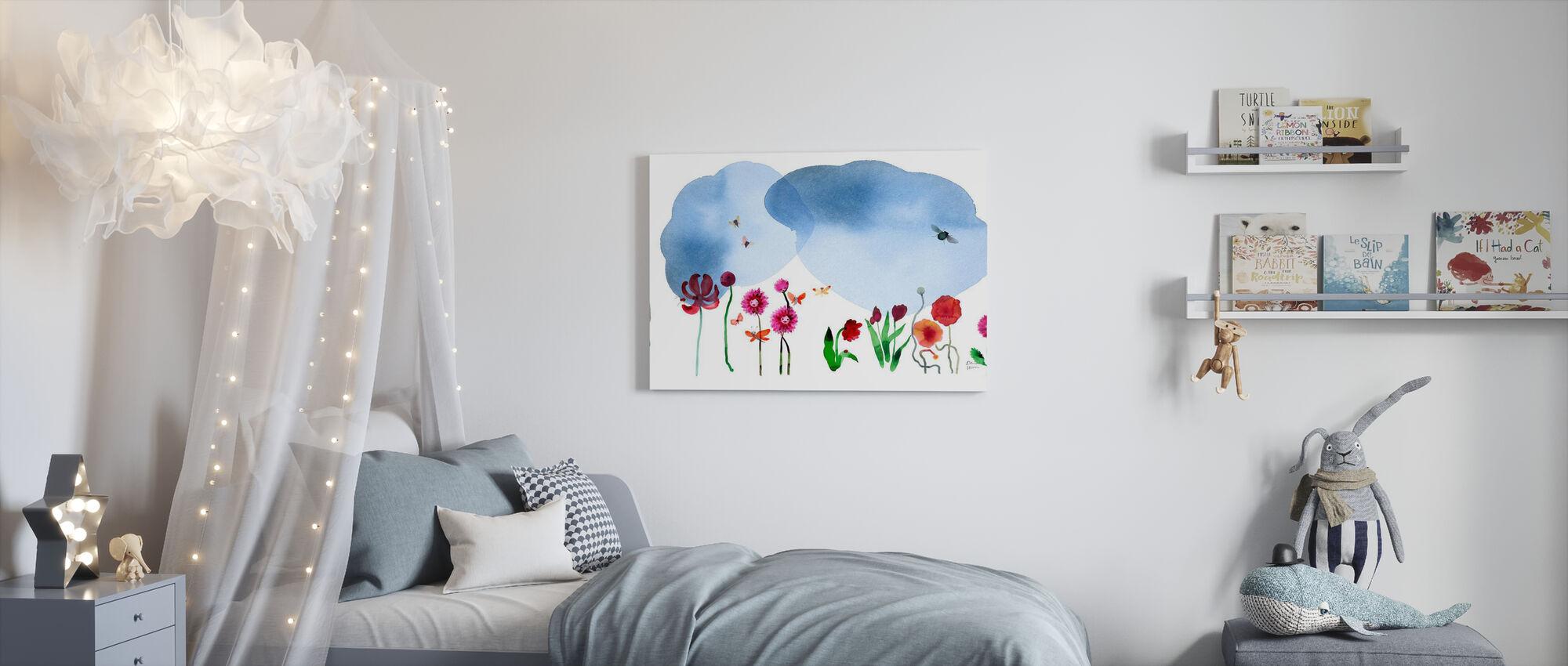 Vattenfärg Blommor II - Canvastavla - Barnrum
