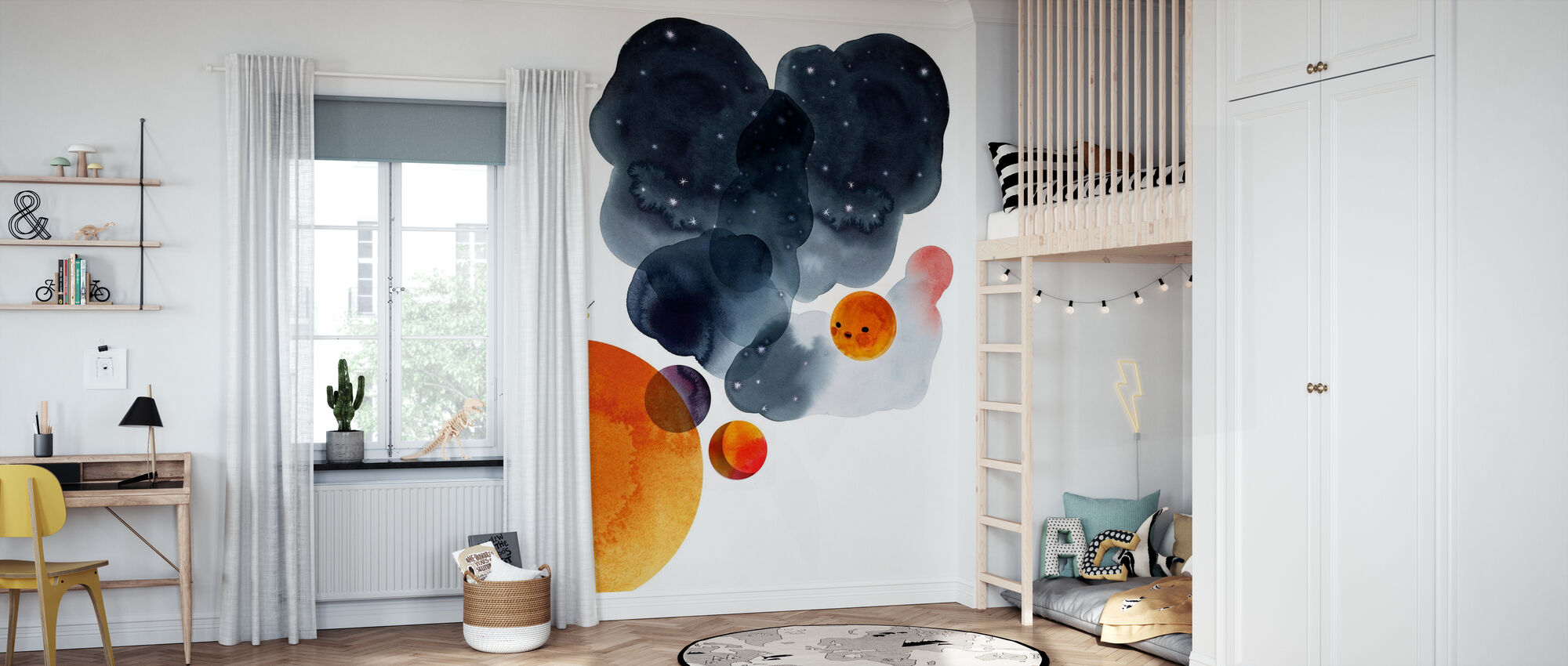 Water Color Space II - Wallpaper - Kids Room