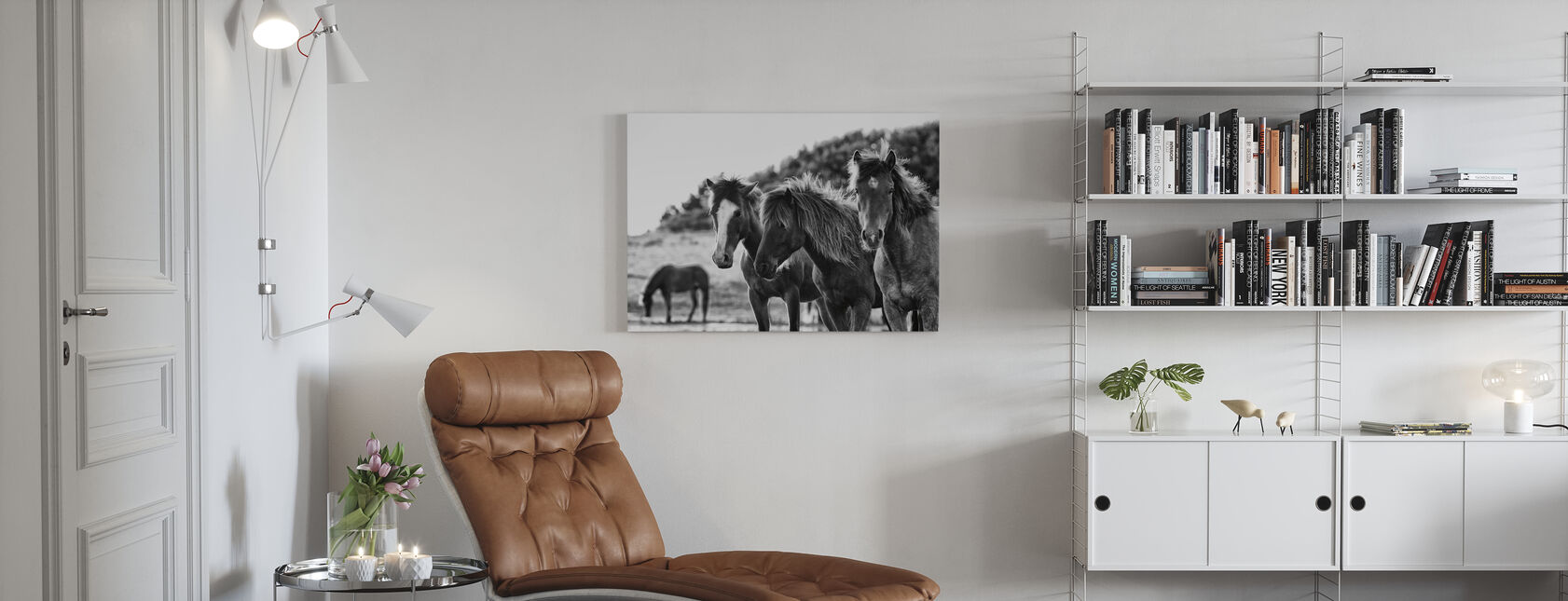 Hester Tre - Lerretsbilde - Stue